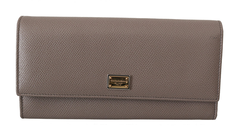 Beige Dauphine Leather Bifold Continental Clutch Wallet