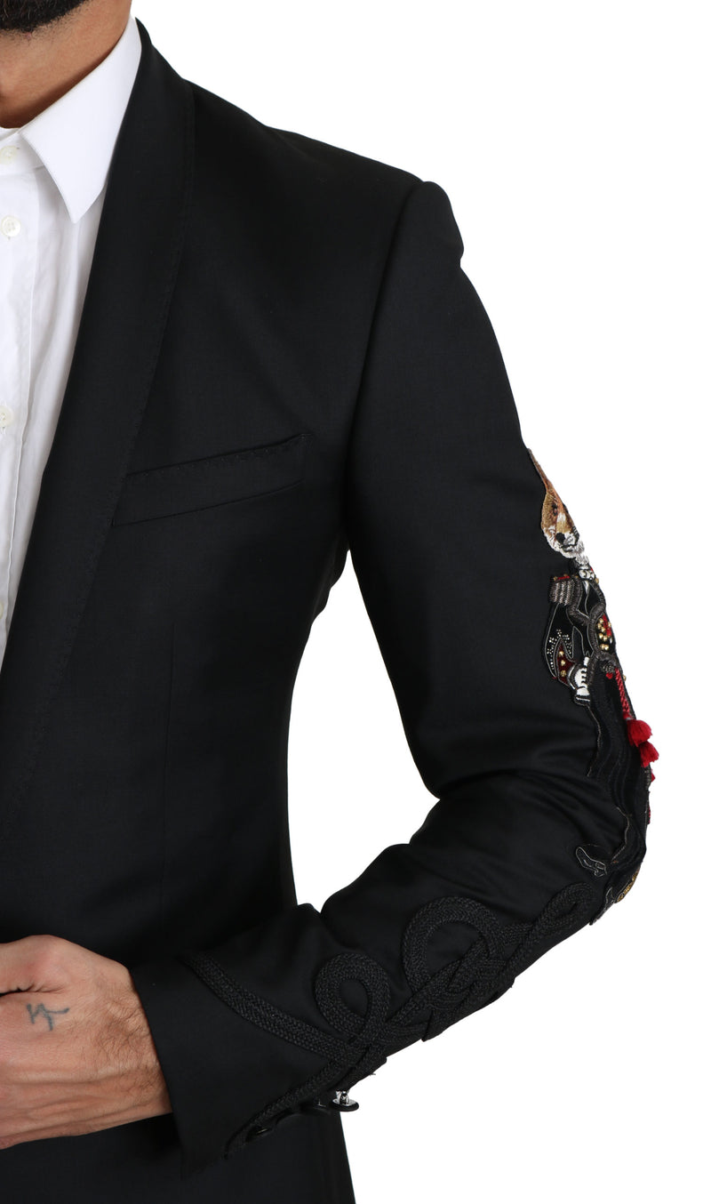 GOLD  Black 2 Piece FOX Embroidered Suit