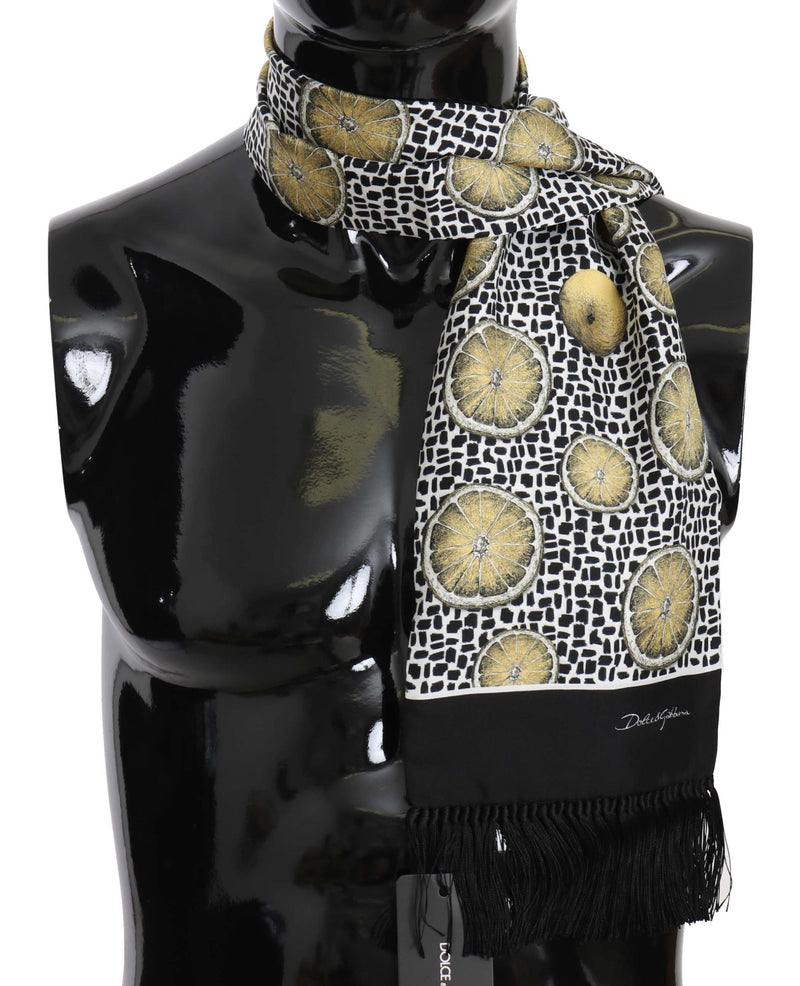 Black Lemon Print Tassel Wrap Scarf