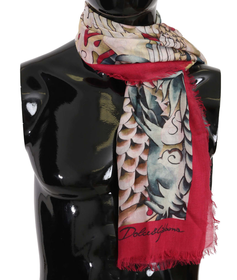 Multicolor Japanese Dragon Print Wrap Scarf