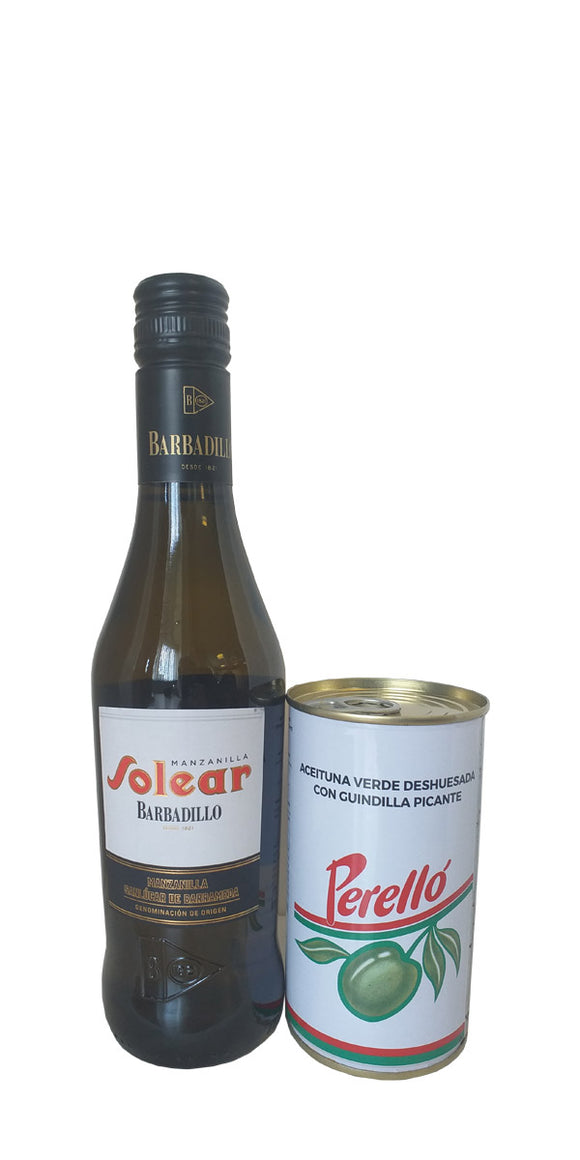 Solear Manzanilla Sherry, Barbadillo (37.5cl) and Free Tin of Perello Olives