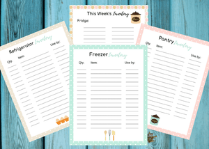 Pantry, Fridge, Freezer, and Weekly Inventory Templates