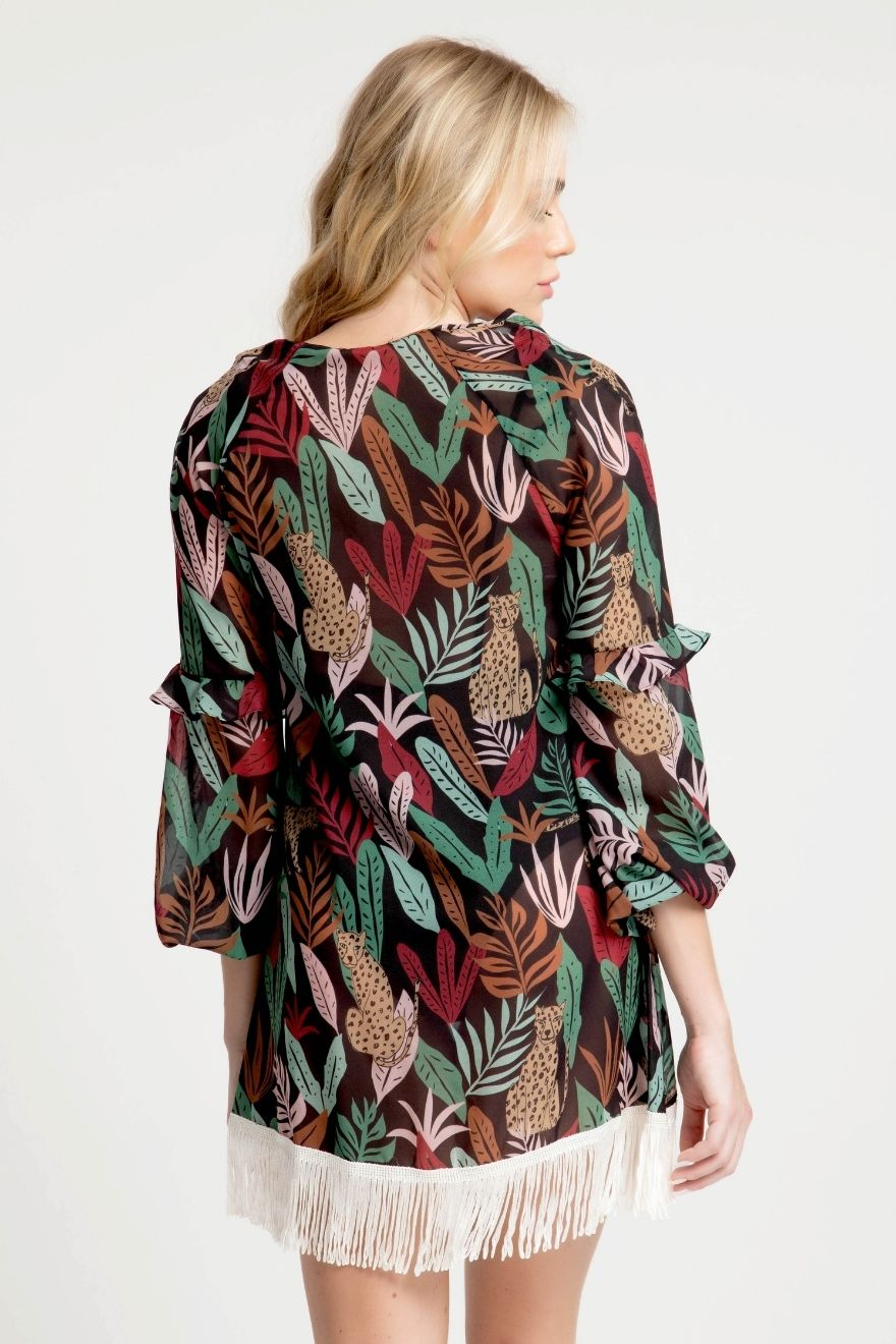 Kaftan Midi Franja Tropical Nativa
