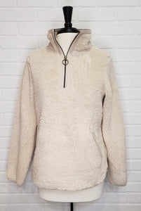 Quarter Zip Sherpa Jacket Ivory