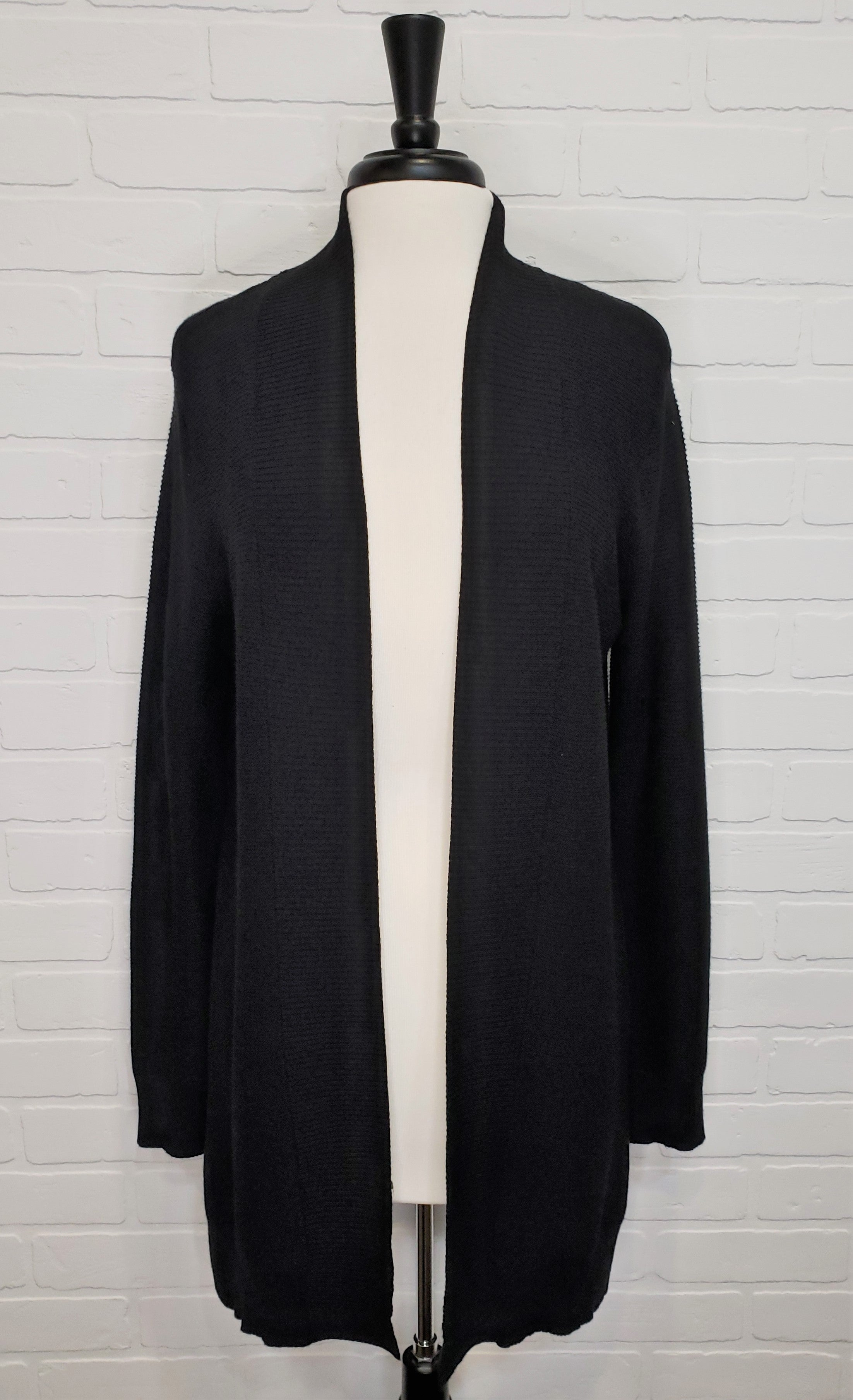 Ribbed Cardigan Black