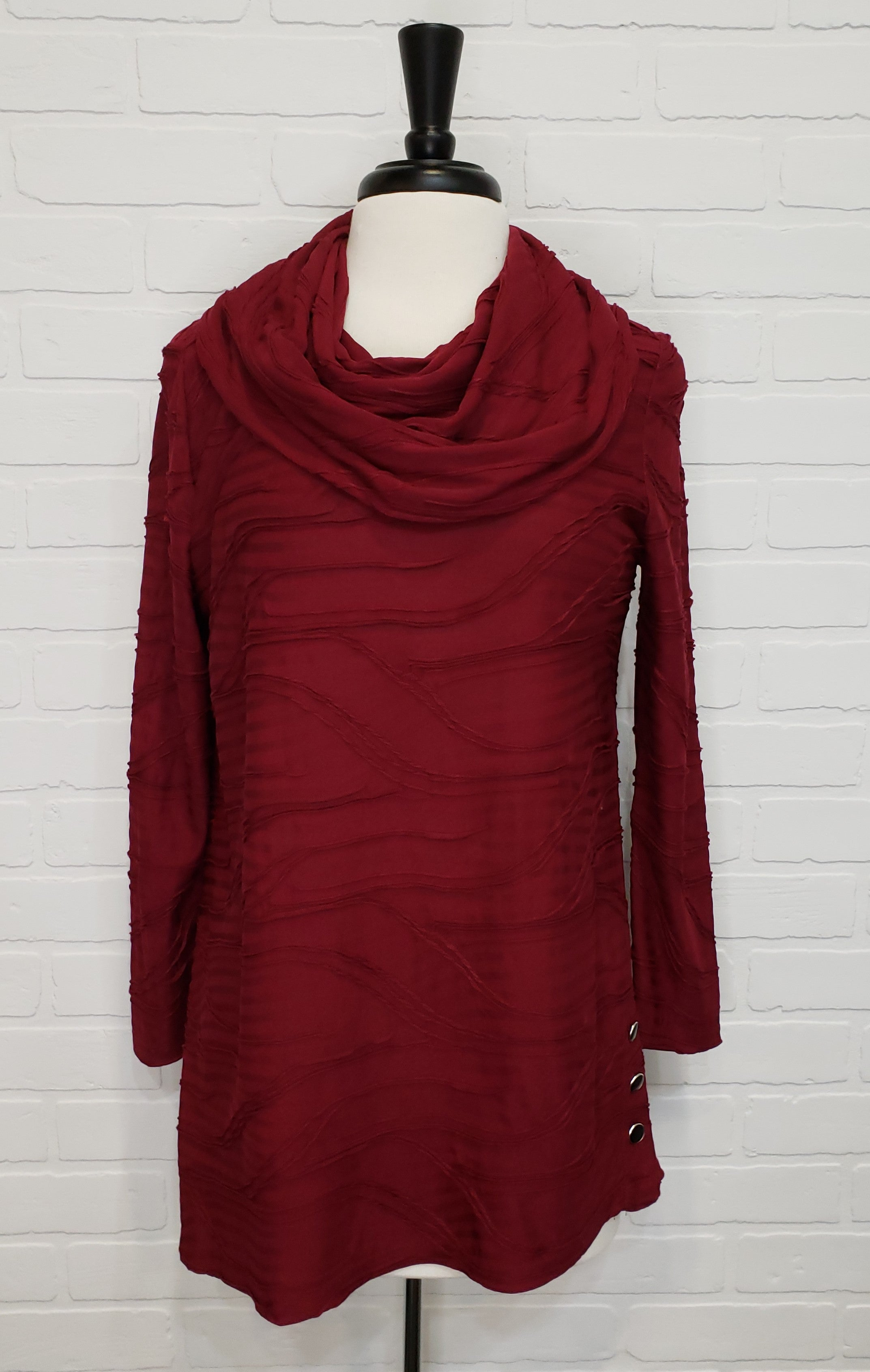 Textured Cowl Neck Tunic