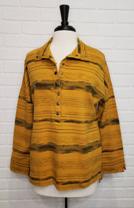 Striped Gold Collared Long Sleeve