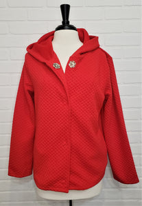 Red Weave Snap Jacket