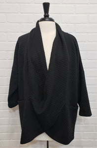 Black Weave Cowl Neck Sweater