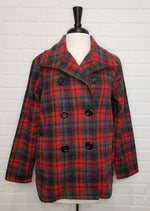 Checkered Red Peacoat
