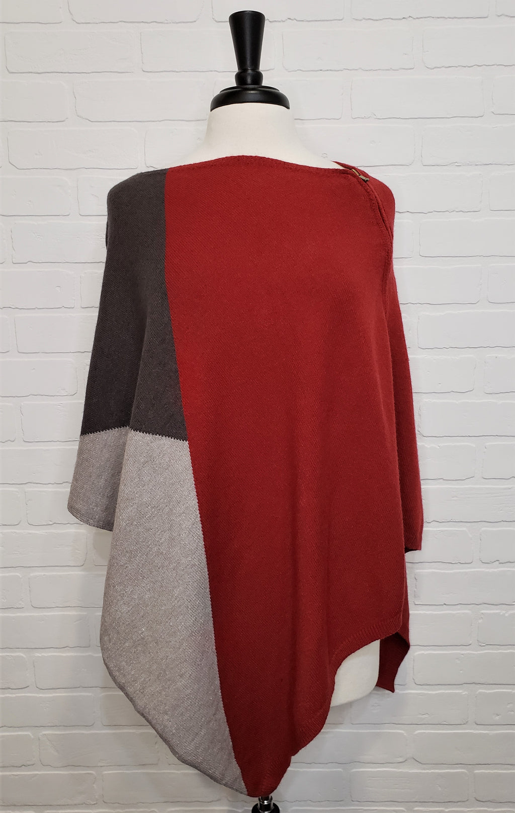 Red Block Poncho