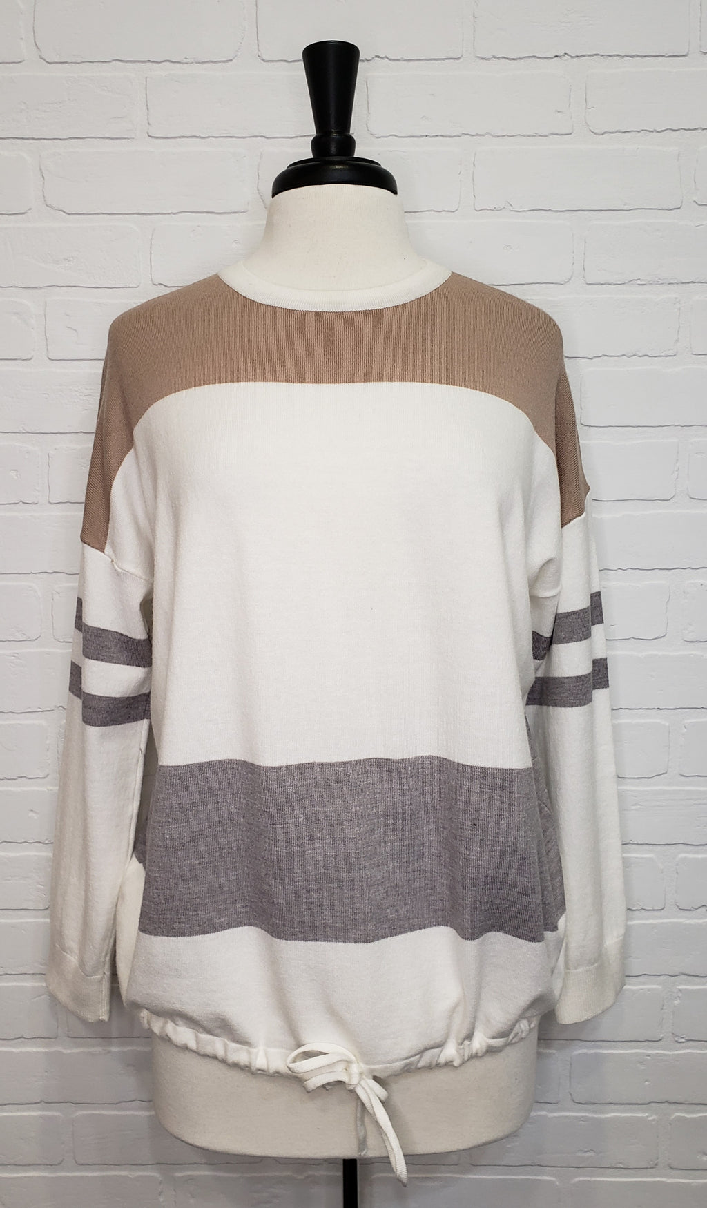 Striped Drawstring Long Sleeve