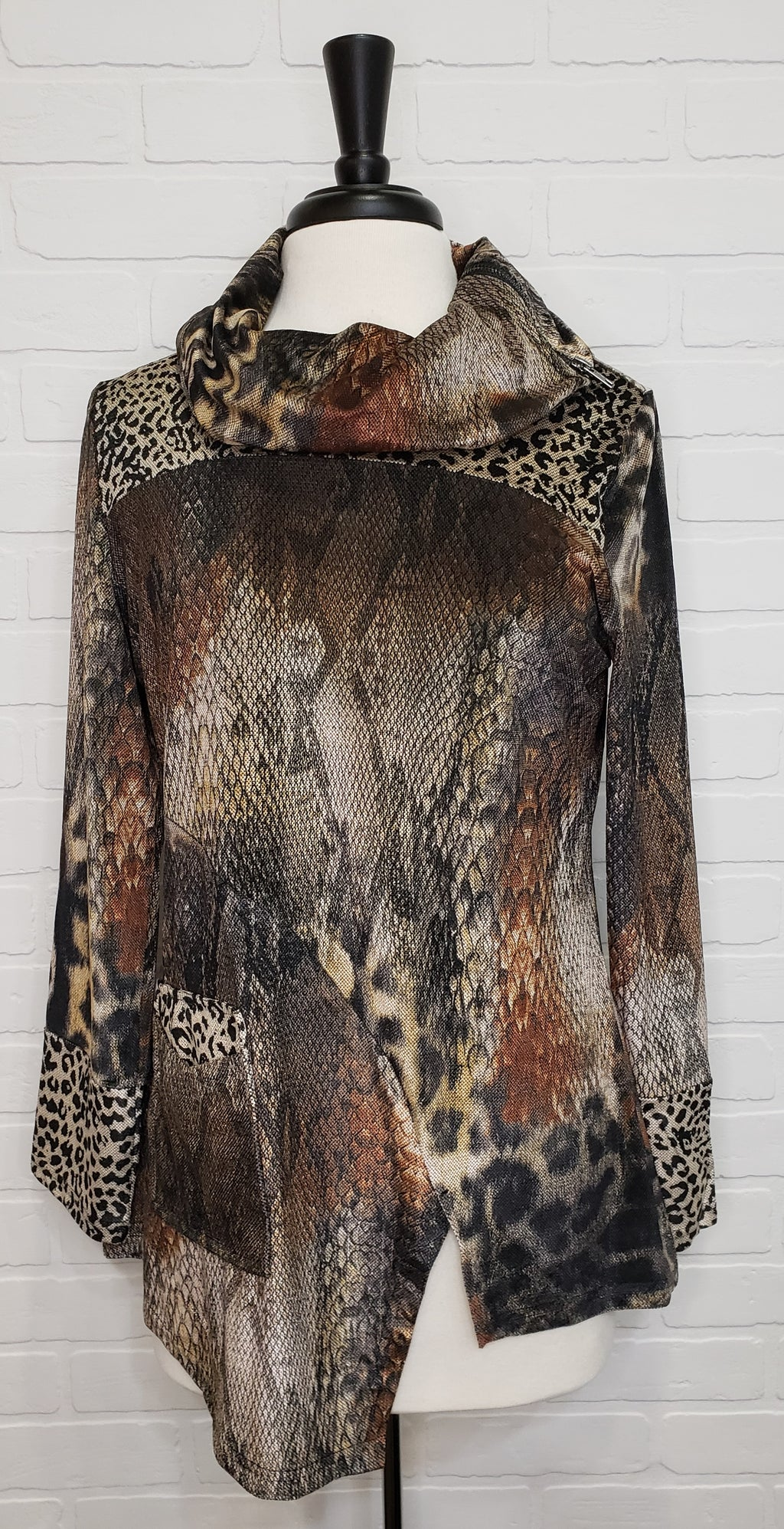 Animal Print Tunic With Zipper Neck