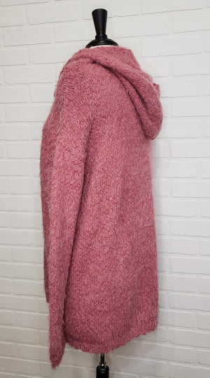 Rose Knit Hooded Cardigan
