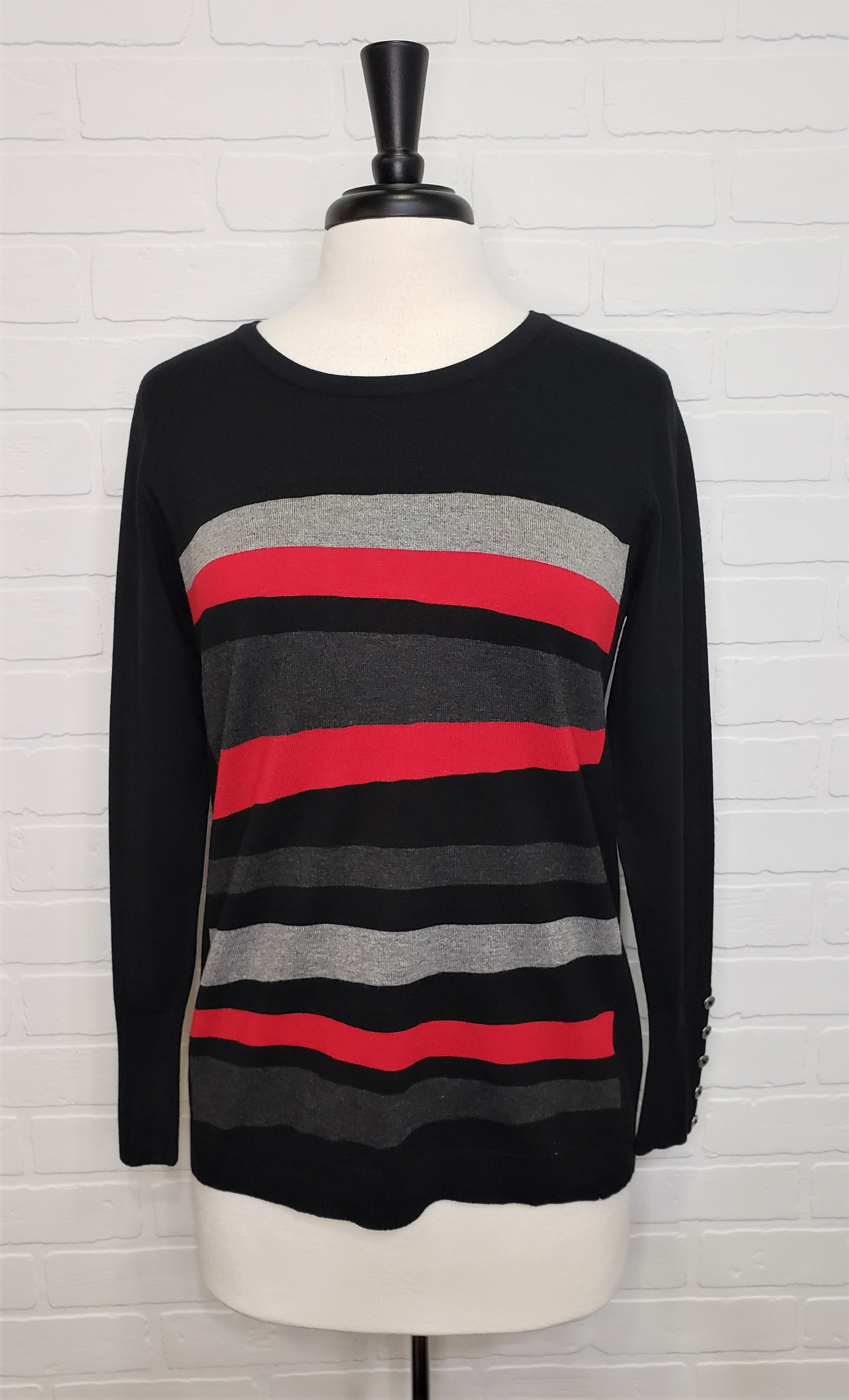 Trio Striped Sweater With Button Sleeve