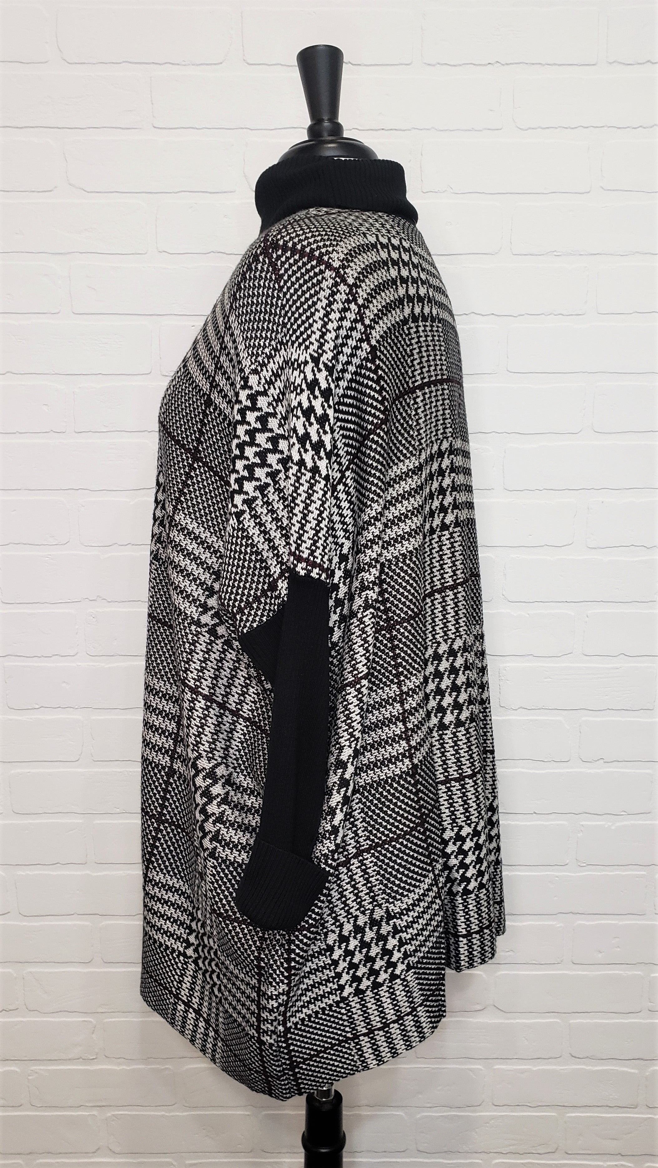 Houndstooth Poncho Cape