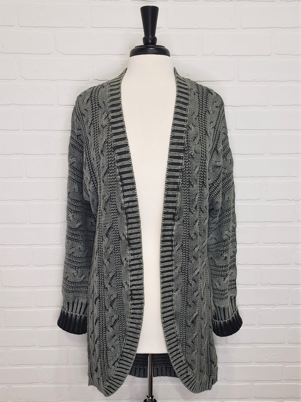 Charcoal Cable Knit Cardigan