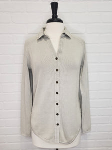 Button Up Shirt Silver Gray