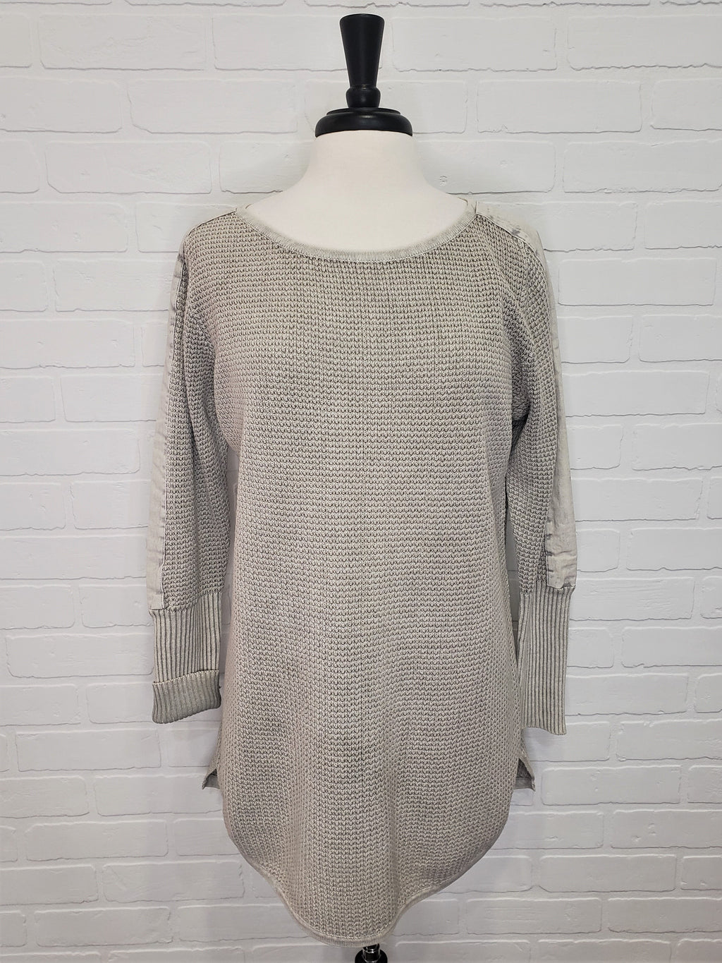 Seed Stitch Tunic Silver Gray