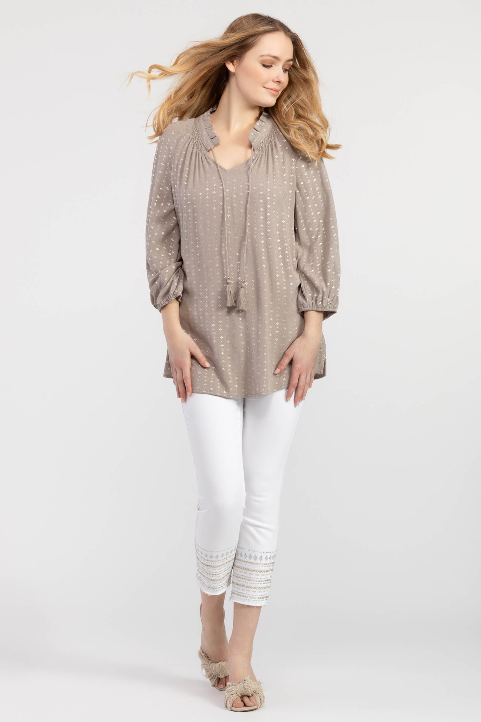 Dry Sand Blouse With Tassels