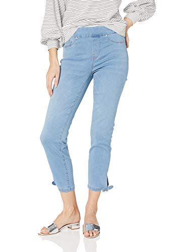 Pull On Ankle Crop With Knot Detail, Light Denim