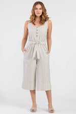 Striped Wide Leg Cropped Jumpsuit