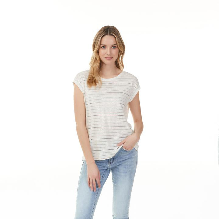 Lurex Linen Striped Cap Sleeve