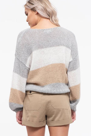 Loose Knit Striped Sweater