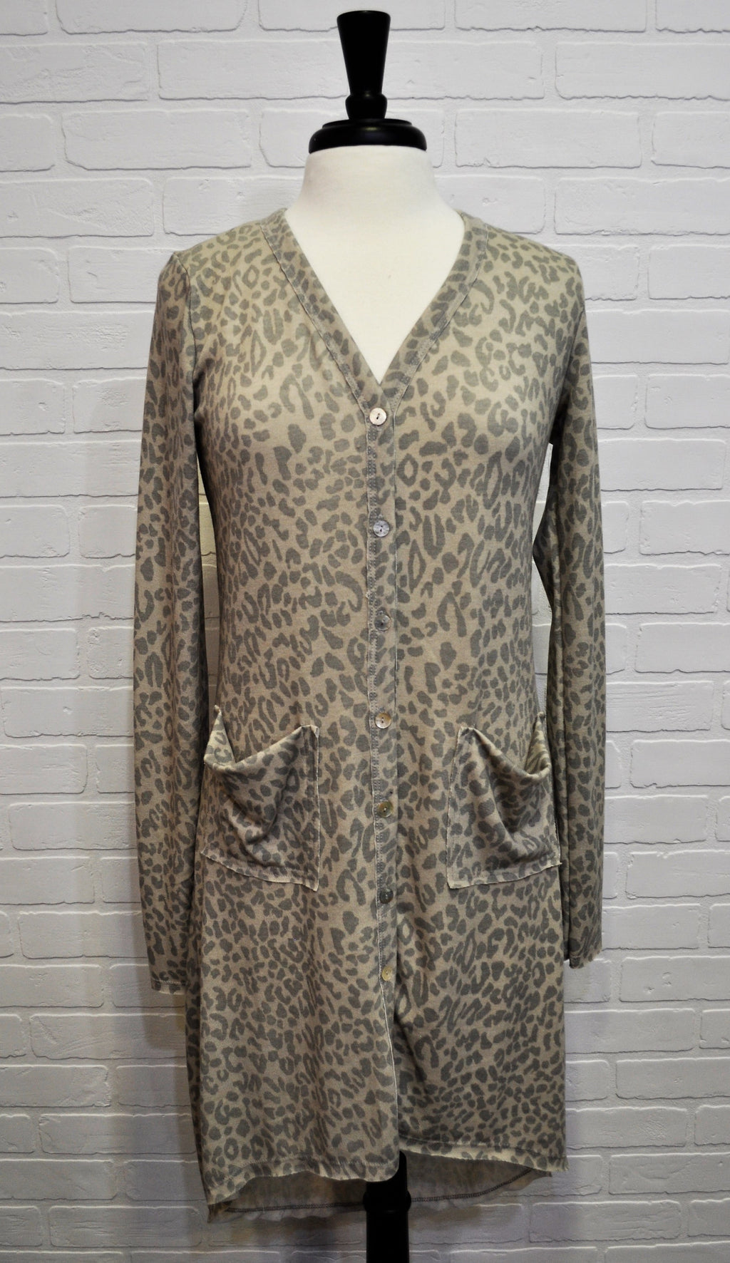 Hi Lo Cardigan Beige Animal Print