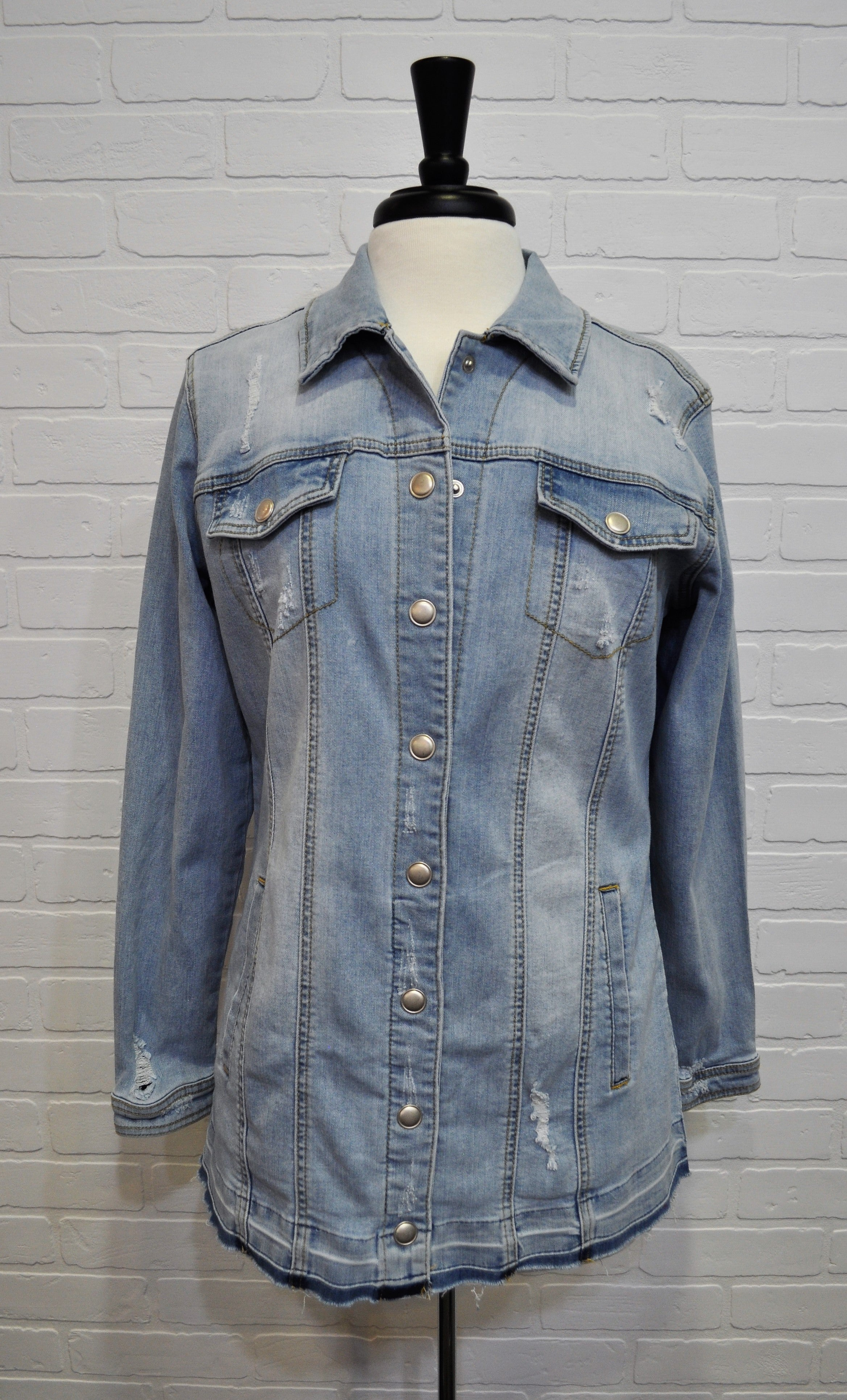 Distressed Maxi Jean Jacket
