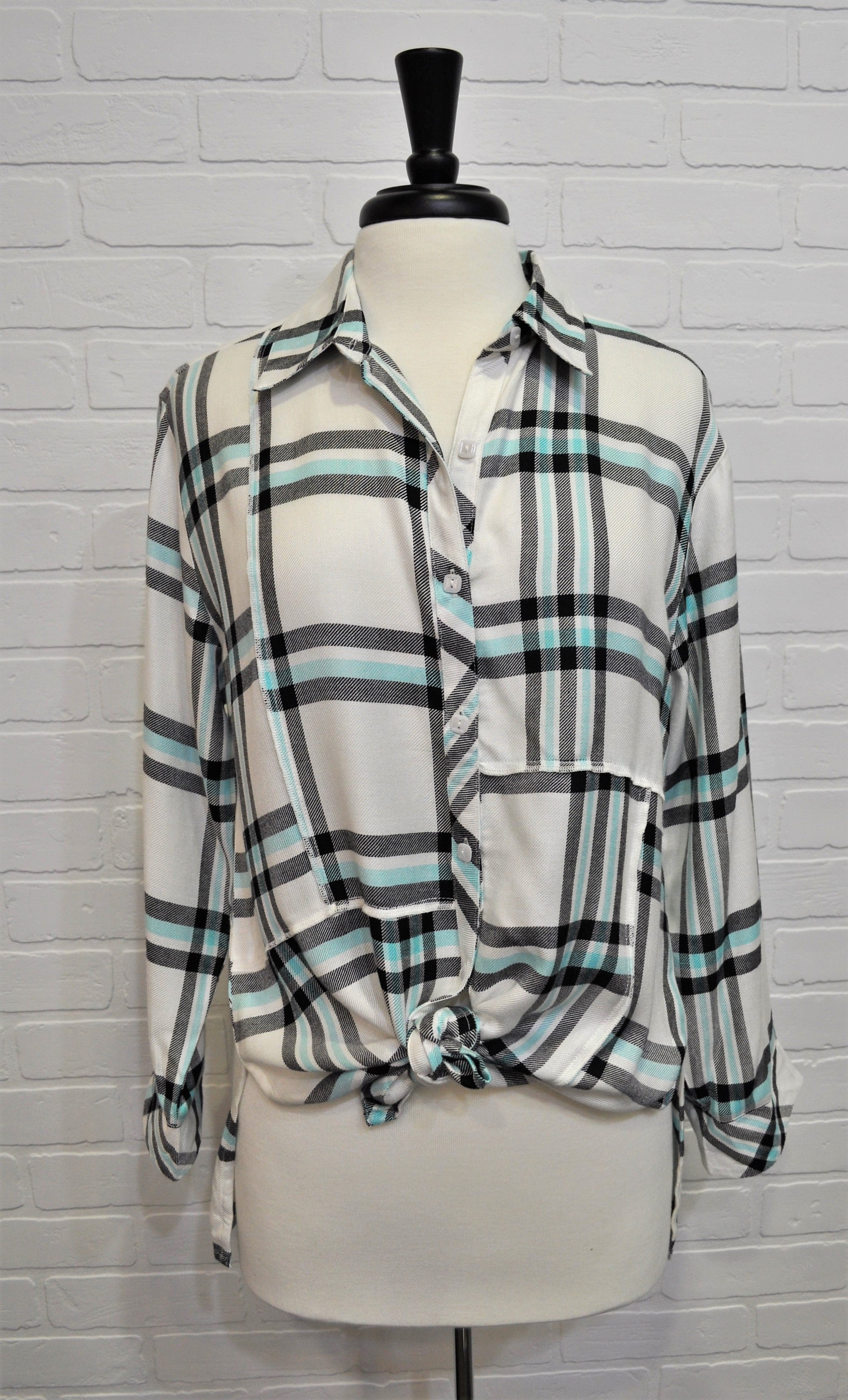 Patched Plaid Tunic