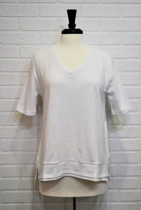 White Cotton V-Neck Shirt