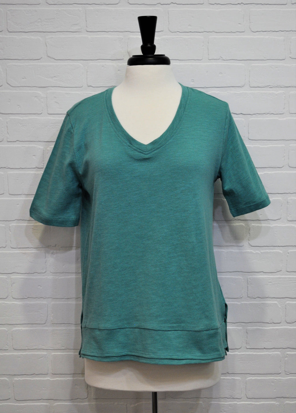 Emerald Cotton V-Neck Shirt