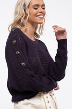 Shoulder Button Loose Knit Sweater