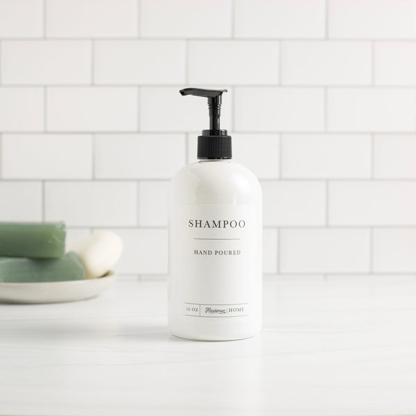16oz White Plastic Shampoo Dispenser - Hardeman Home