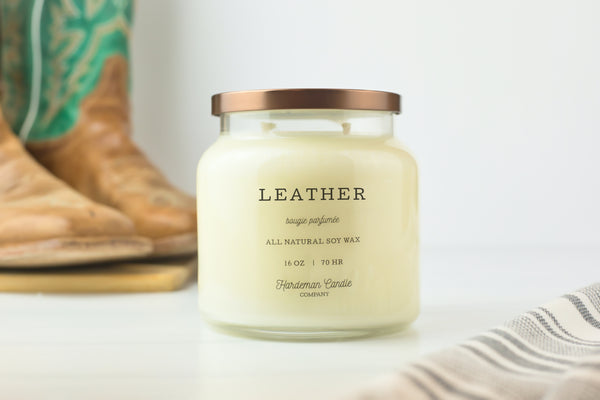 Leather 16 oz Soy Candle - Hardeman Candle Co.