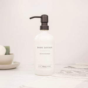 16oz White Glass Body Lotion Dispenser