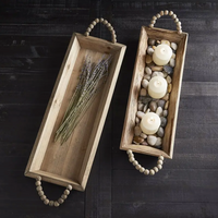Wooden Tray with Beaded Handles - Hardeman Candle Co.