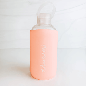 Let Your Light Shine 16oz Glass Water Bottle with Silicone Sleeve