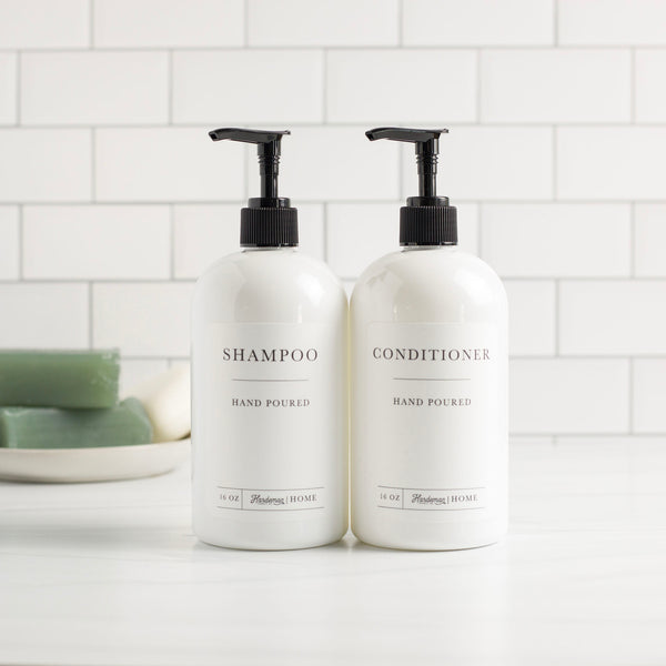 White Plastic Shampoo and Conditioner Dispenser Bundle - Hardeman Home