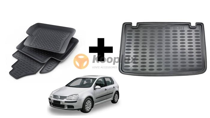 Tapis salon 3D+Tapis coffre 3D Vw golf 5 - KOOPLUX