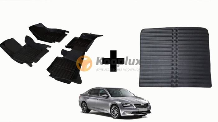 Tapis salon 5D + Tapis coffre 5D skoda superb 2016+