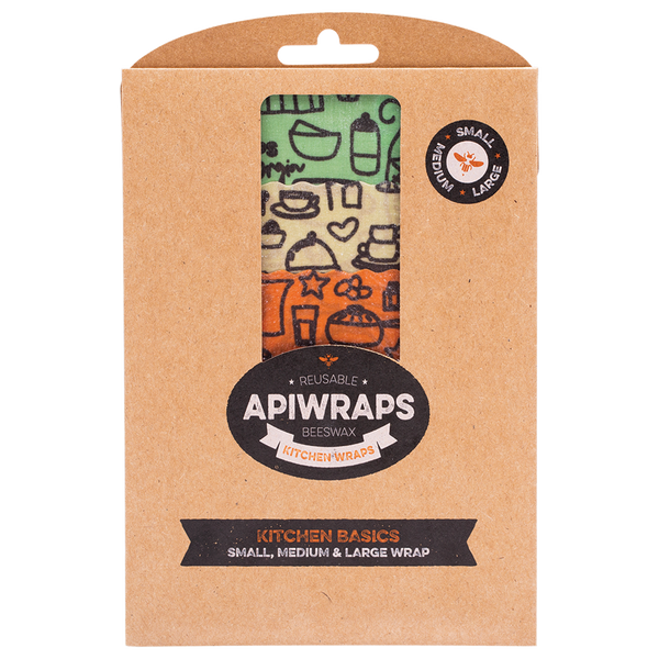APIWRAPS Reusable Beeswax Wraps - Kitchen 1 x Small, Medium & Large (Designs Vary) - 3