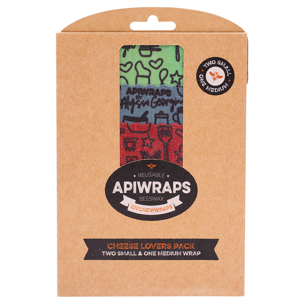 APIWRAPS Reusable Beeswax Wraps - Cheese 2 x Small & 1 x Medium (Designs Vary) - 3