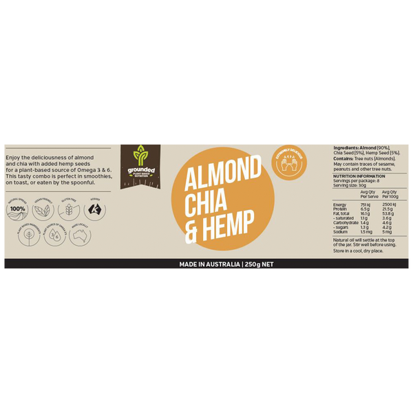 ESSENTIAL HEMP GROUNDED Natural Nut Butter Almond Chia & Hemp - 250g