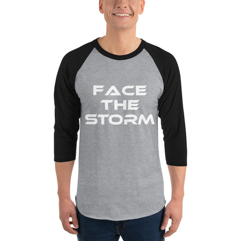 "Men's Dark Color 3/4 Sleeve ""Face The Storm"" Shirt"