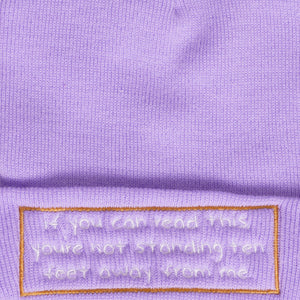 'Stand Ten Feet Away From Me' Beanie Hat - Lilac