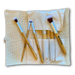 Vegan bamboo full-face 6-brush set with soft burlap carrying case.