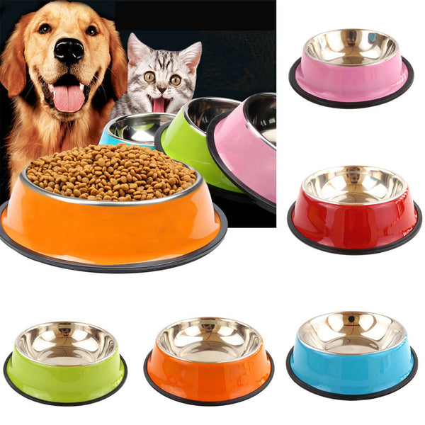 Pets Stainless Steel Bowls Food Water Non-slip Dishes - ourfurryfriendshub