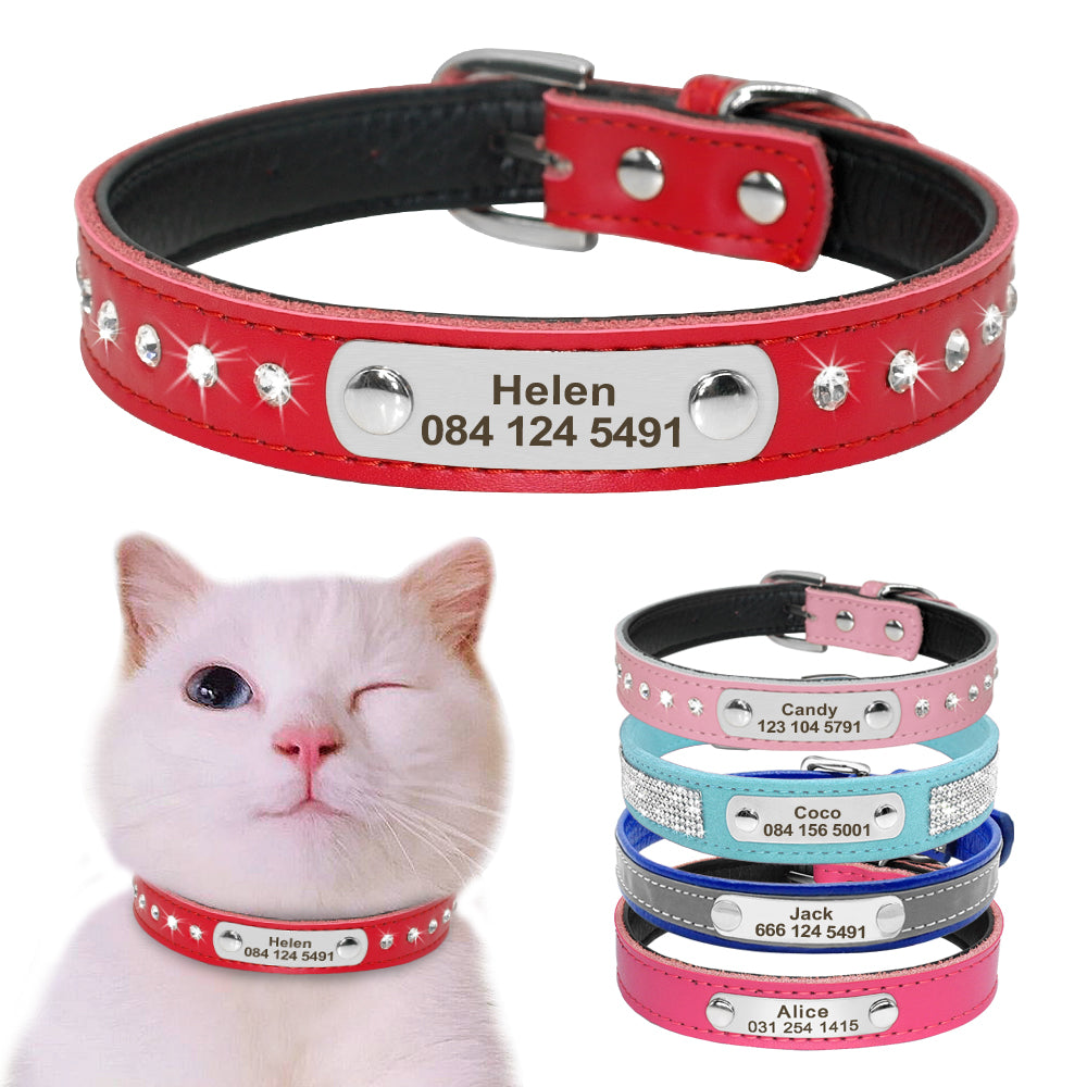 Leather Cat Collar PLeather Cat Collar Personalized Cat Collar For Puppy Small Dogs Pet Kitten Nameplate Collar Free Engraving Adjustableersonalized Cat Collar For Puppy Small Dogs Pet Kitten Nameplate Collar Free Engraving Adjustable - ourfurryfriendshub